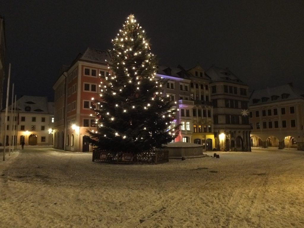 Ночная площадь. Гёрлиц. Зима. Германия.